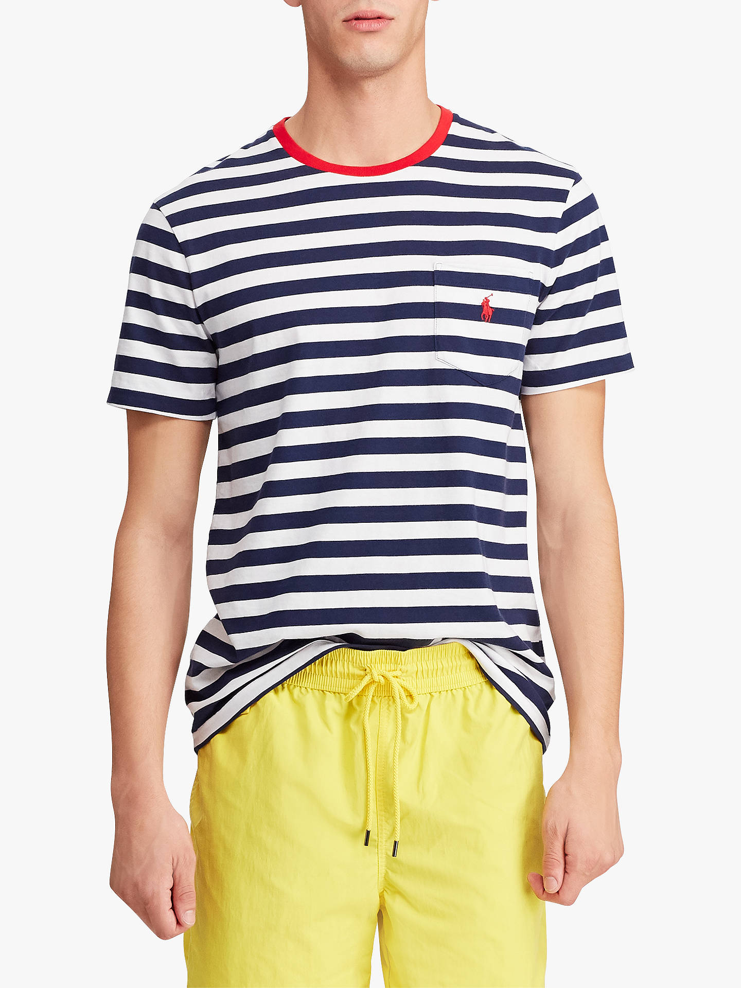 0a5c55c0 Buy Polo Ralph Lauren Stripe Pocket Short Sleeve T-Shirt, Navy/White, ...