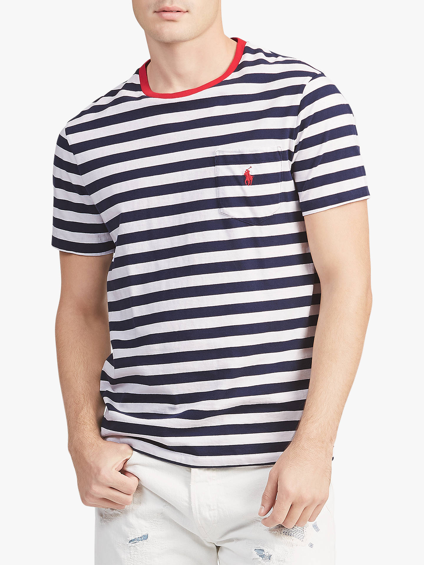 e6ef4920 ... Buy Polo Ralph Lauren Stripe Pocket Short Sleeve T-Shirt, Navy/White,  ...