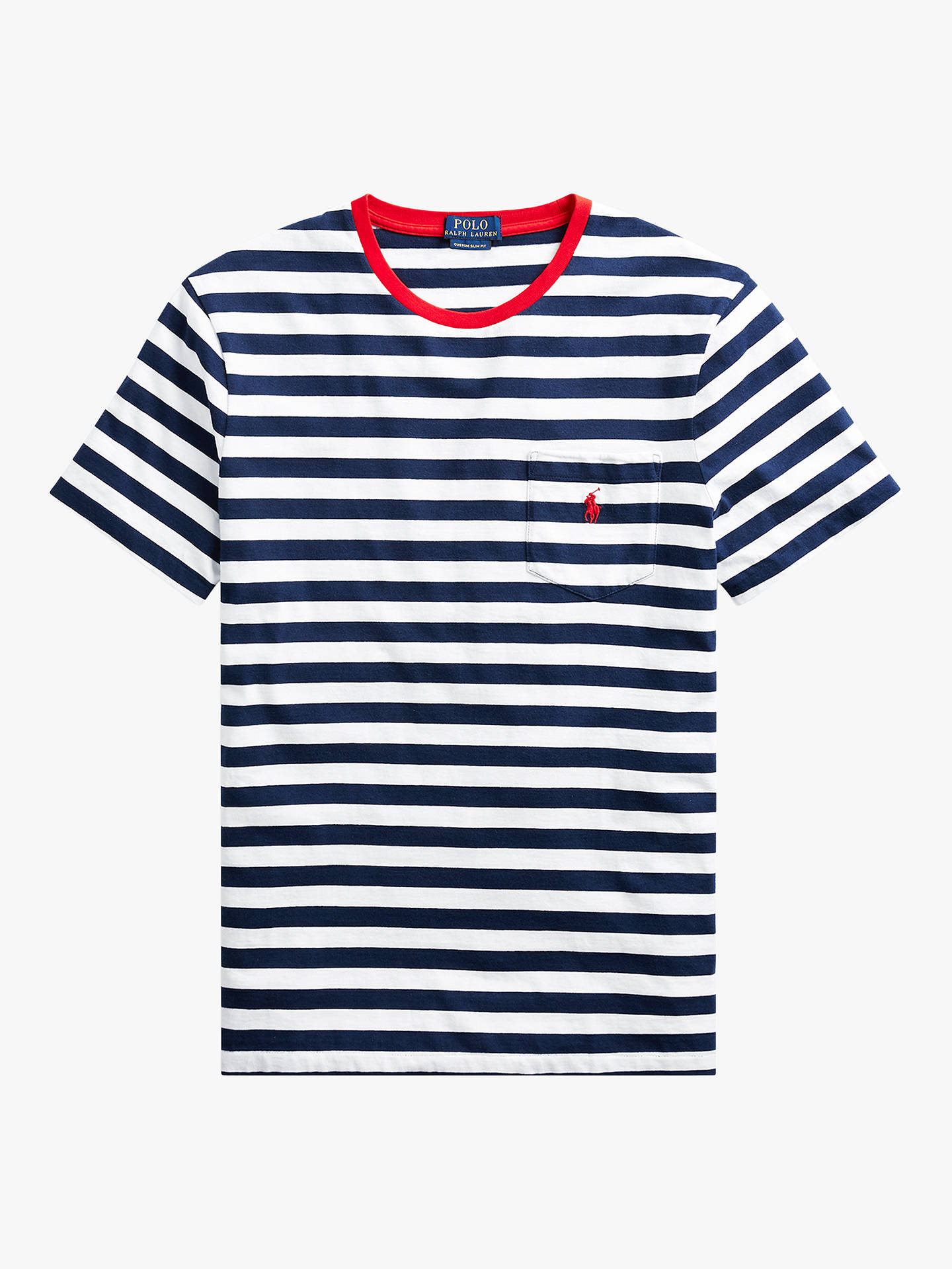 96a65f1a ... Buy Polo Ralph Lauren Stripe Pocket Short Sleeve T-Shirt, Navy/White,
