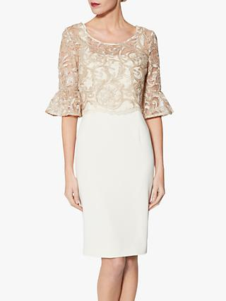 Gina Bacconi Embroidered Overtop Dress, Beige
