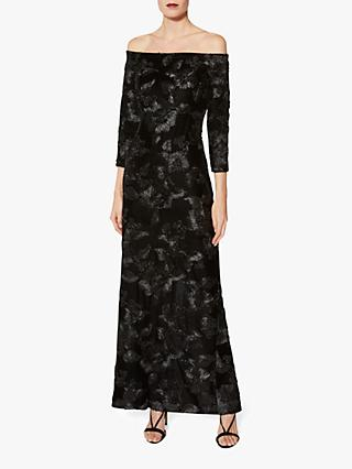 Gina Bacconi Karlotta Embroidered Velvet Maxi Dress, Black