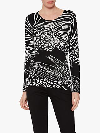 Gina Bacconi Birdie Animal Print Jumper, Black