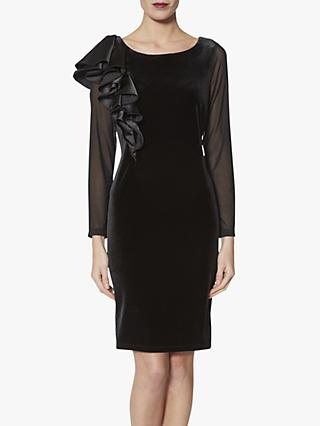 Gina Bacconi Karla Satin Ruffle Dress, Black