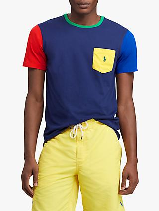 Polo Ralph Lauren Colour Block Pocket Short Sleeve T-Shirt, Newport Navy/Multi