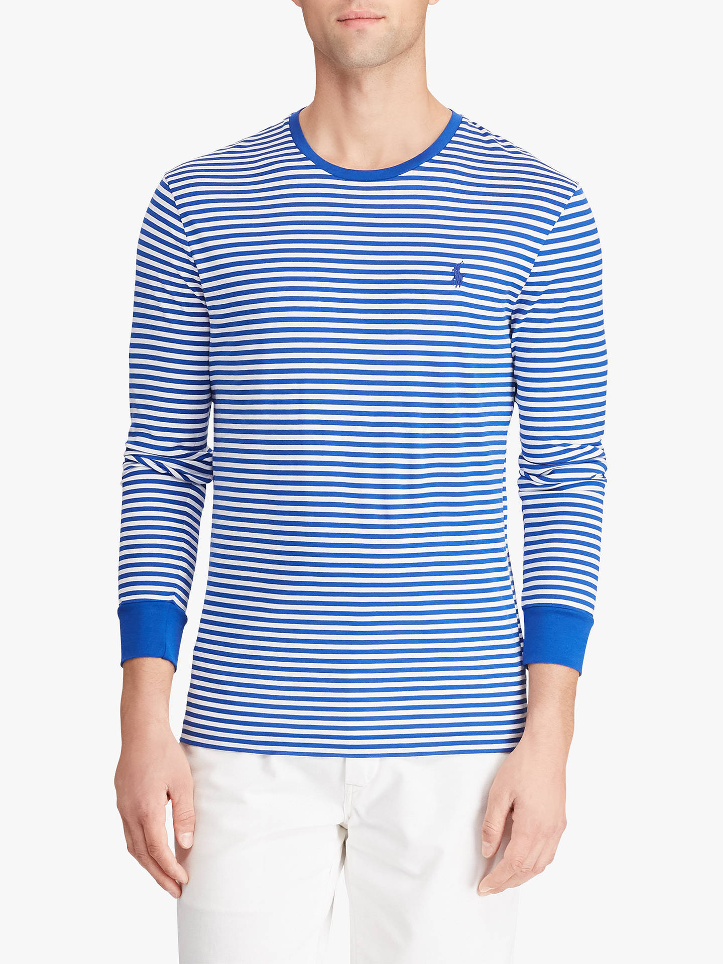 low priced 01c5e b1235 Polo Ralph Lauren Custom Slim Fit Long Sleeve Striped T-Shirt, Sapphire  Star/White