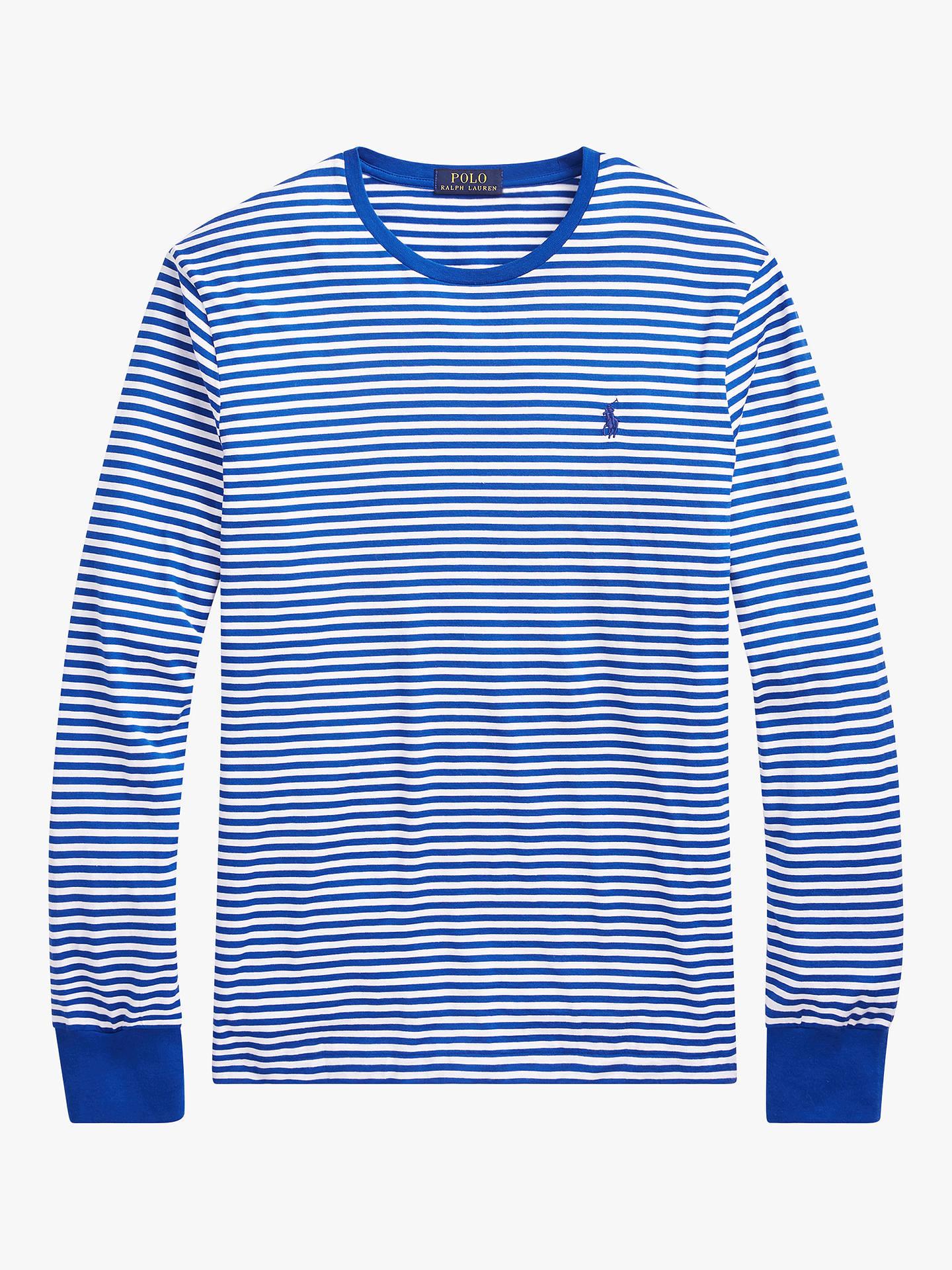 Sleeve Custom Striped Slim Fit Polo Lauren T Ralph ShirtSapphire Starwhite Long 8wnOyvm0N