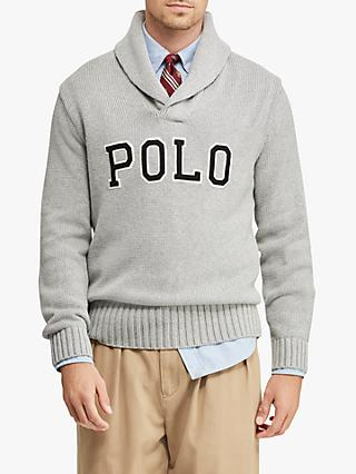 Polo Ralph Lauren Cotton Shawl-Collar Sweater, Andover Grey Heather
