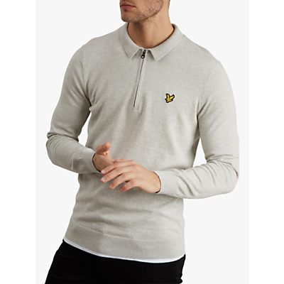Lyle & Scott Collared Quarter Zip Jumper, Light Grey Marl