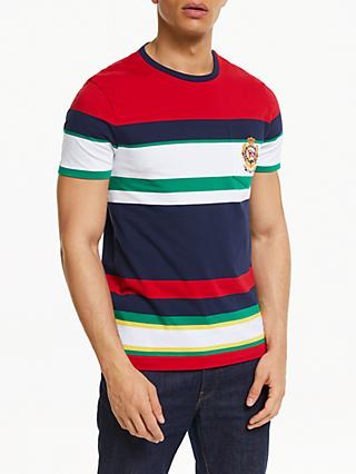 Polo Ralph Lauren Stripe Colour Block Crest T-Shirt, White Multi