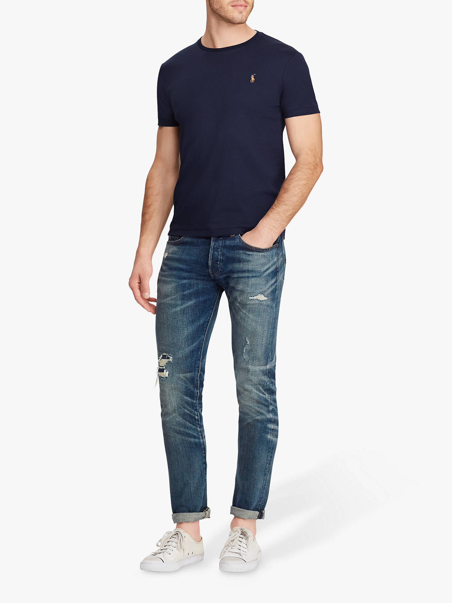 BuyPolo Ralph Lauren Custom Slim Fit T-Shirt, French Navy, XL Online at johnlewis.com