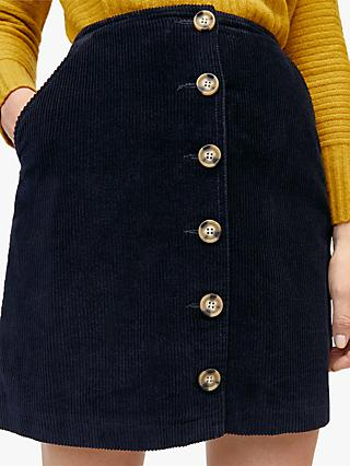 Warehouse Button Cord Skirt, Navy