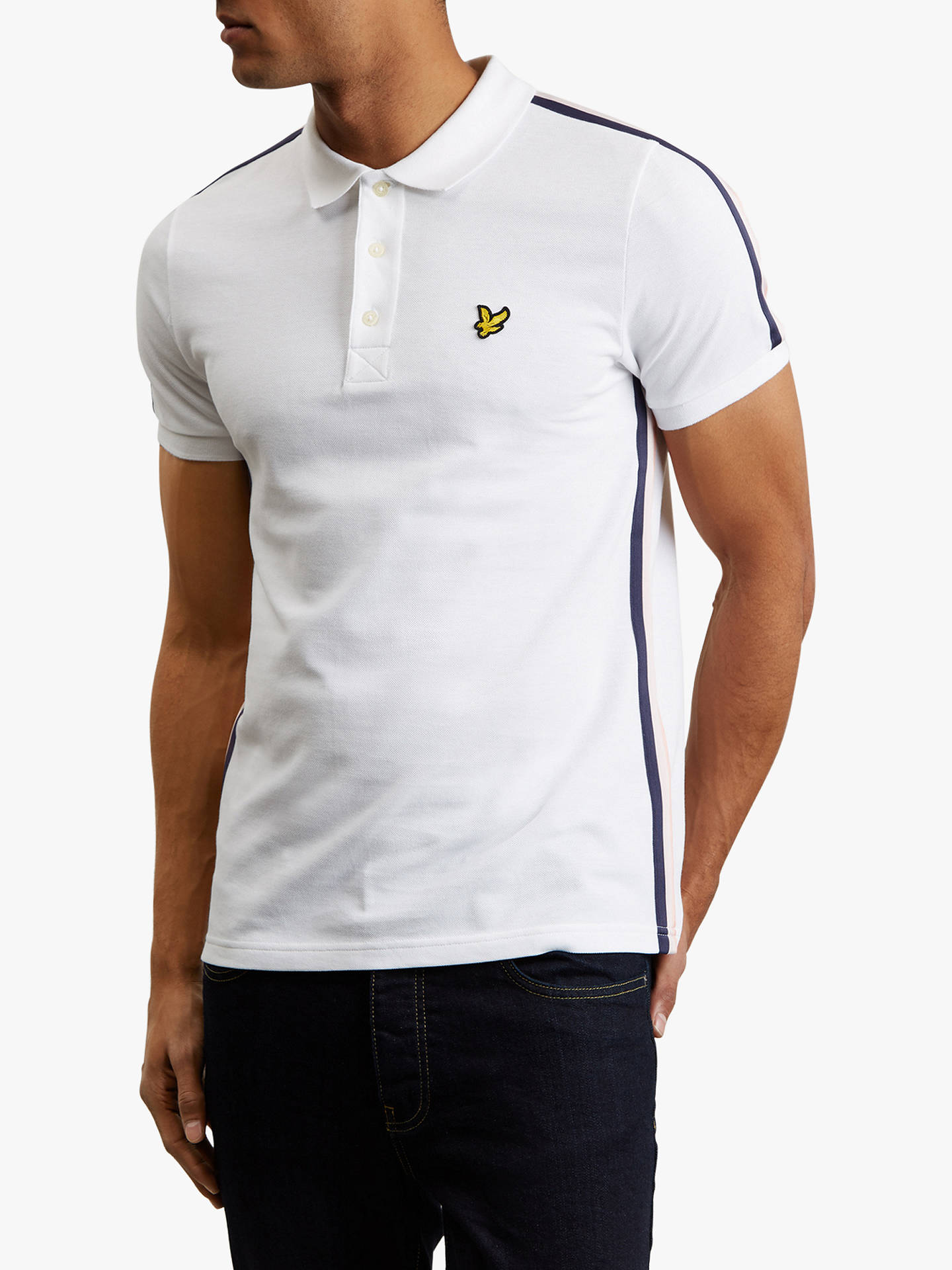c9d920c5 Buy Lyle & Scott Short Sleeve Side Stripe Polo Shirt, White, L Online at ...