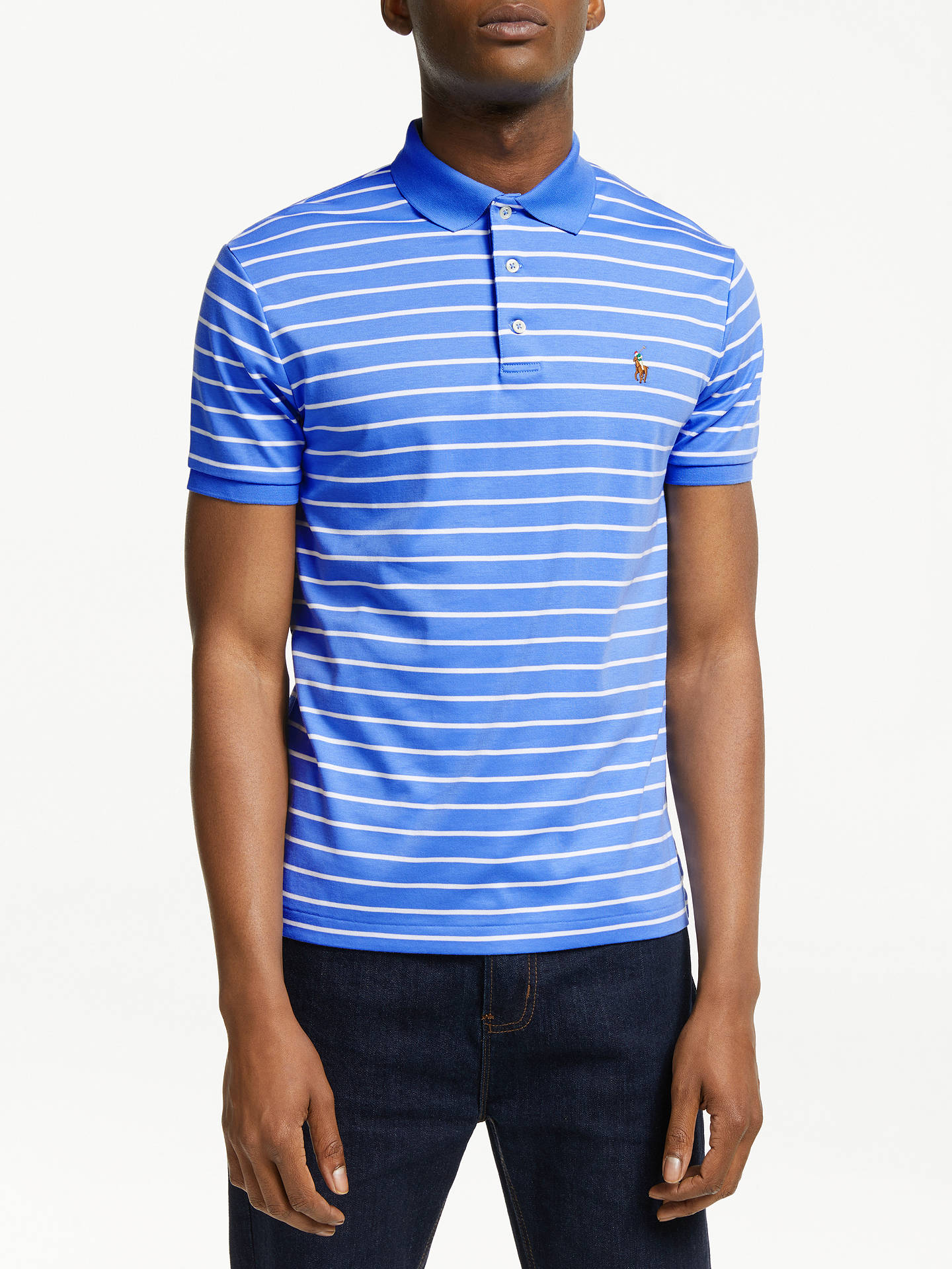 fa02d133 Buy Polo Ralph Lauren Pima Striped Polo Shirt, Harbor Island Blue, XXL Online  at ...