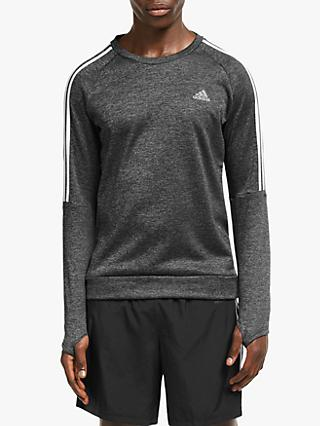 adidas Own The Run 3-Stripes Running Sweatshirt, Grey Heather