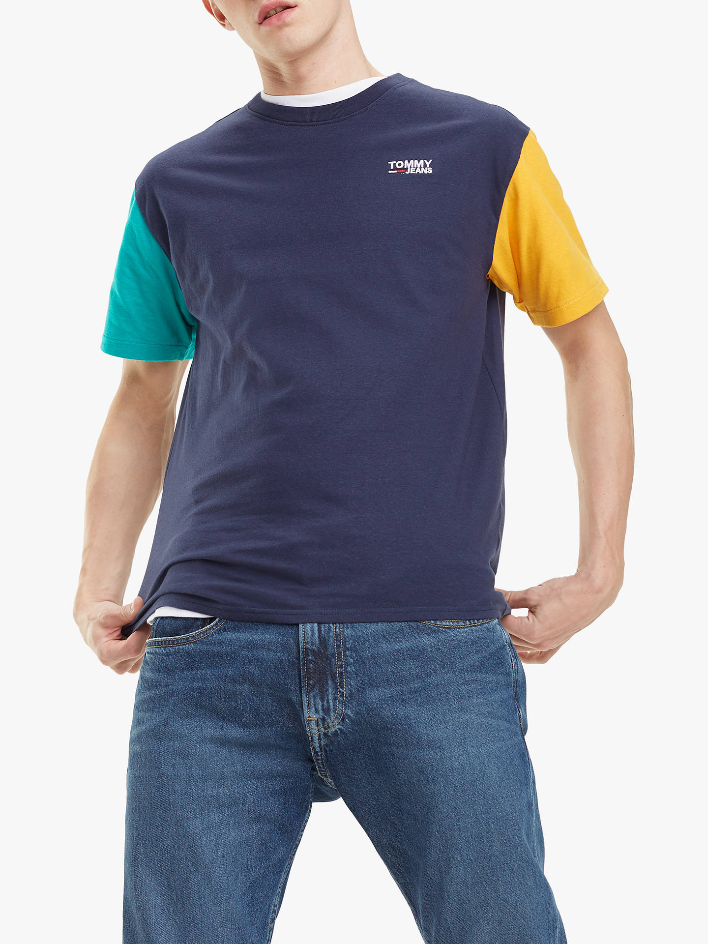 2f4018020 Buy Tommy Jeans Colour Block T-Shirt, Black Iris/Multi, S Online ...