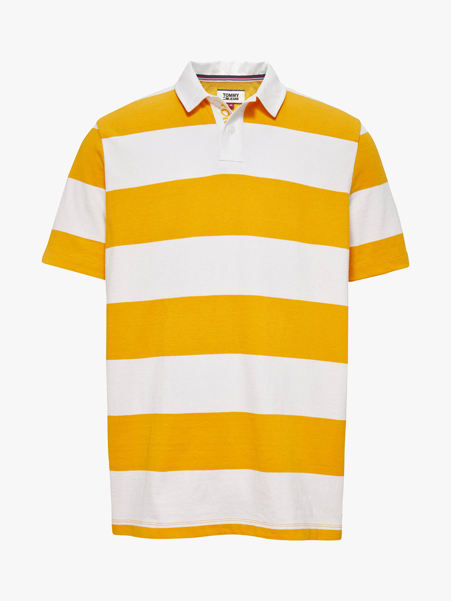 Tommy Jeans Stripe Block Rugby Shirt Yellow White At