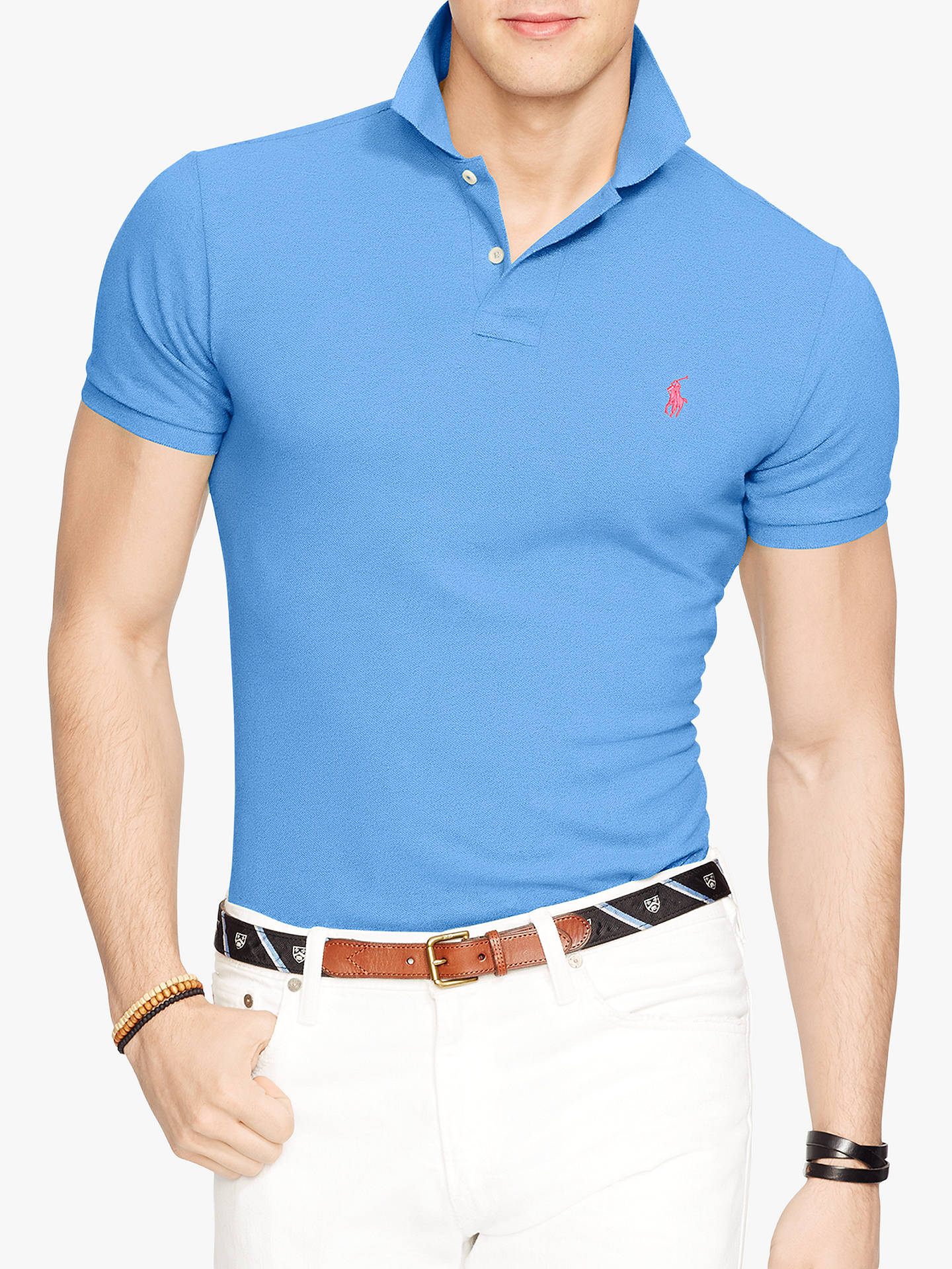 1993b7c03 Buy Polo Ralph Lauren Slim Fit Mesh Polo Shirt, Harbor Island Blue, M  Online ...
