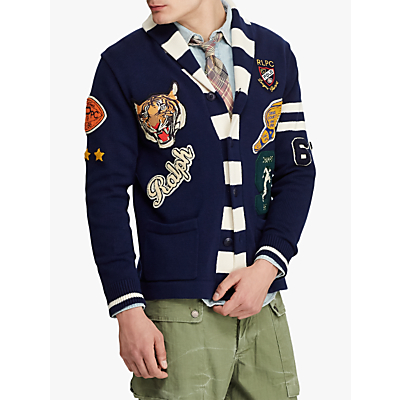 Polo Ralph Lauren Cotton Letterman Cardigan, Navy/Cream