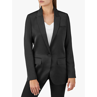 Pure Collection Relaxed Satin Blazer, Black