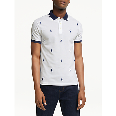 Polo Ralph Lauren Pony Pattern Polo Shirt, White All-Over