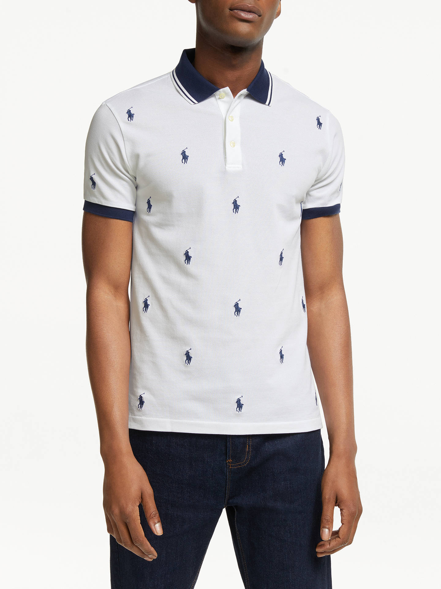 2bd54c12 Buy Polo Ralph Lauren Pony Pattern Polo Shirt, White All-Over, S Online ...