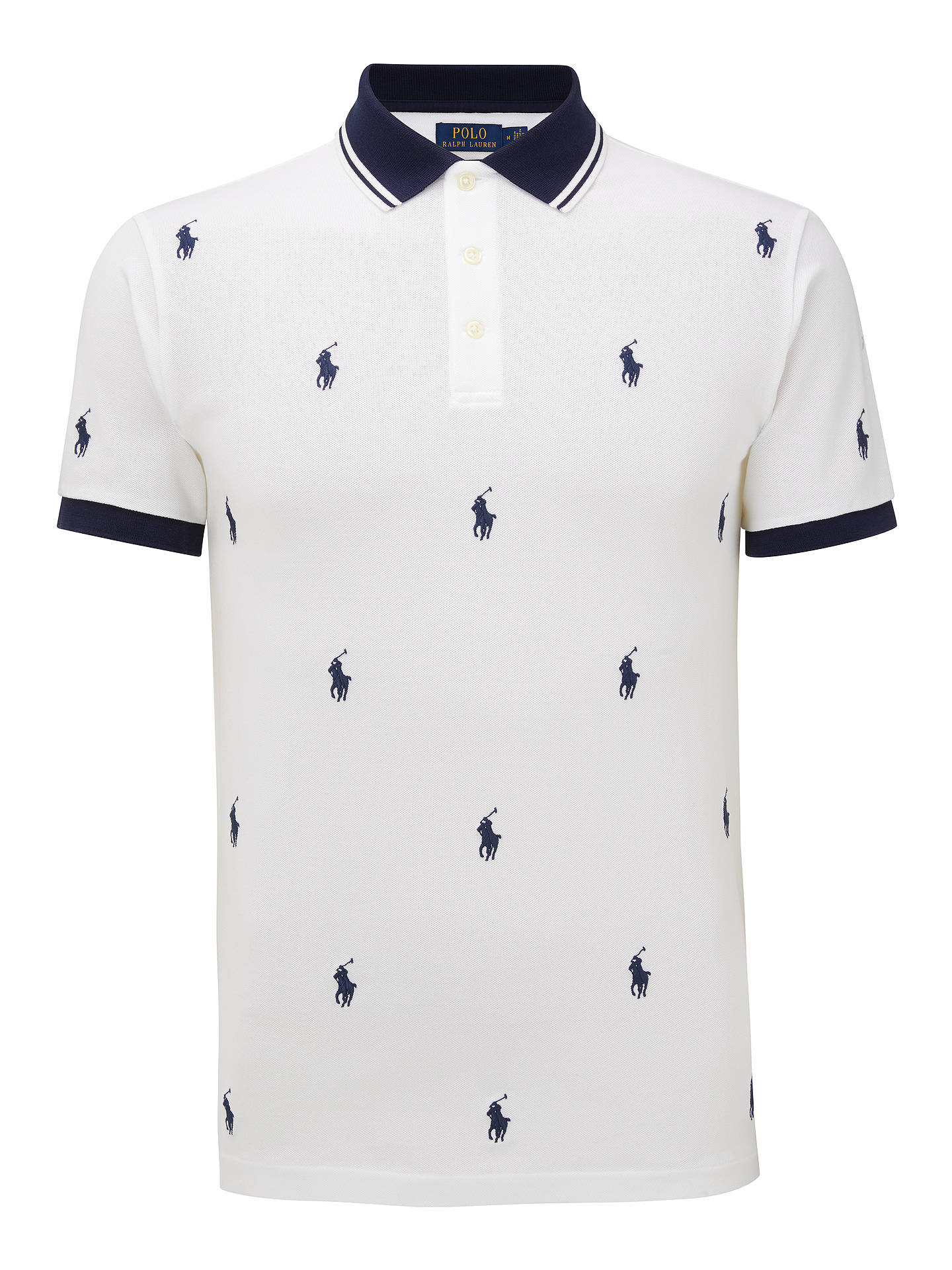 new arrival f2b22 9c8f6 Polo Ralph Lauren Pony Pattern Polo Shirt, White All-Over