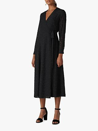Whistles Animal Devore Texture Wrap Midi Dress, Black