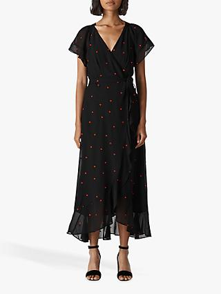 Whistles Heart Embroidered Maxi Dress, Black