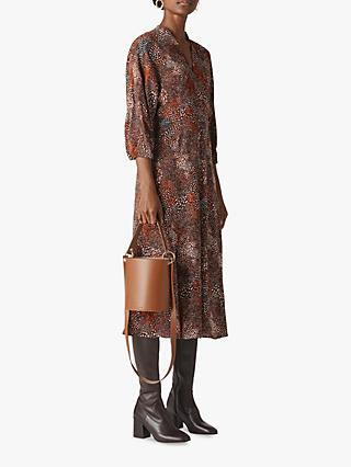Whistles Abstract Animal Print Midi Dress, Brown/Multi