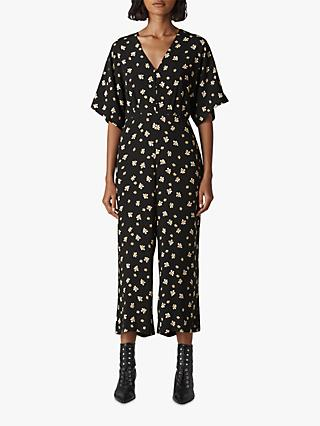 Whistles Edelweiss Button Jumpsuit, Black/Multi