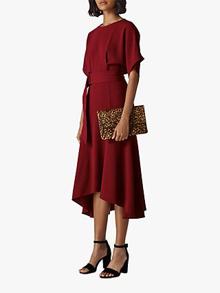 Whistles Textured Belted Midi Dress, Burgundy