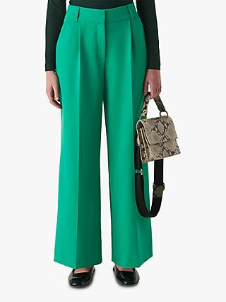 Whistles Ash Full Leg Tailored Trousers, Green