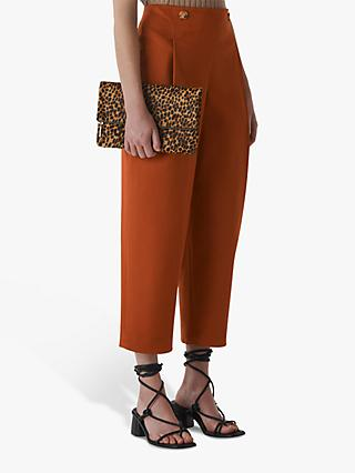 Whistles Alicia Deep Pleat Trousers, Rust