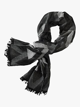 Betty & Co. Geometric Patterned Scarf, Black/Silver
