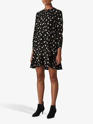 Whistles Edelweiss Print Shirt Dress, Black/Multi