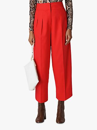 Whistles Sophie Pleat Front Trousers, Red