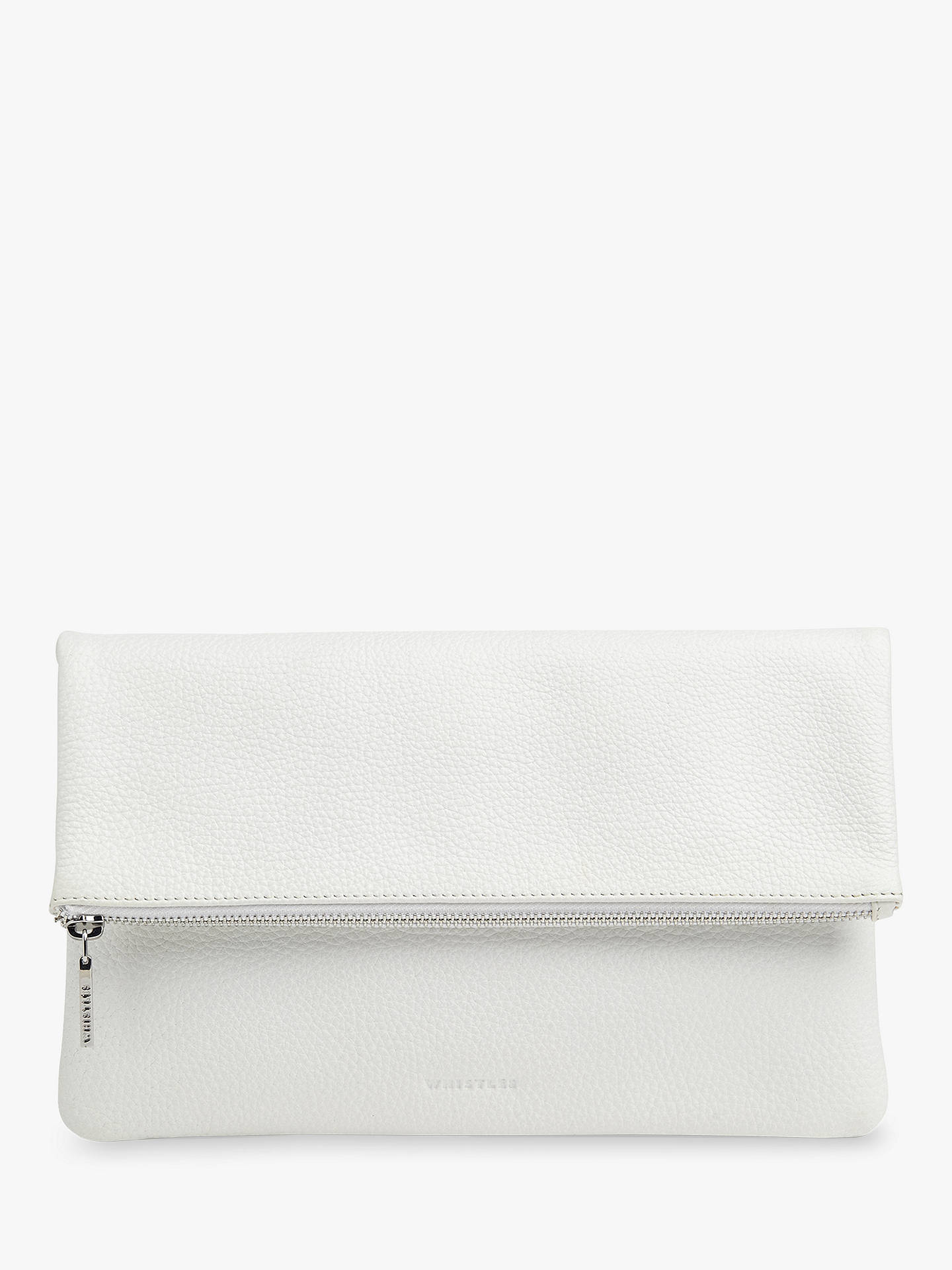 99dda97f7 Buy Whistles Chapel Leather Foldover Clutch Bag, White Online at  johnlewis.com ...
