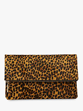 Whistles Chapel Leather Foldover Clutch Bag, Leopard Print