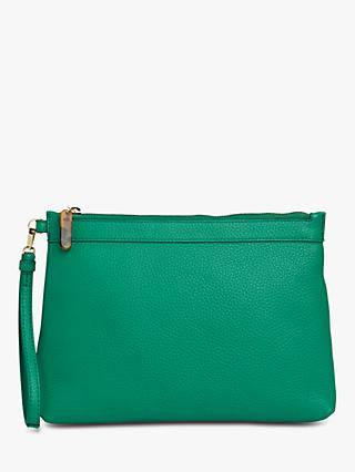 Whistles Chester Resin Zip Leather Purse, Green