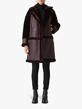 Whistles Longline Faux Fur Biker Coat, Burgundy