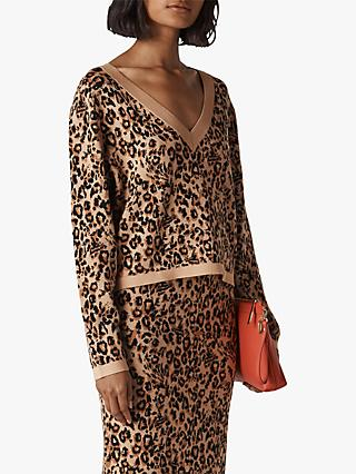 Whistles Jungle Cat Jacquard Jumper, Multi