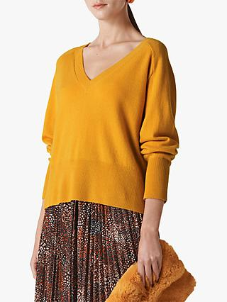 Whistles Oversized V-Neck Sustainable Cashmere Jumper, Yellow