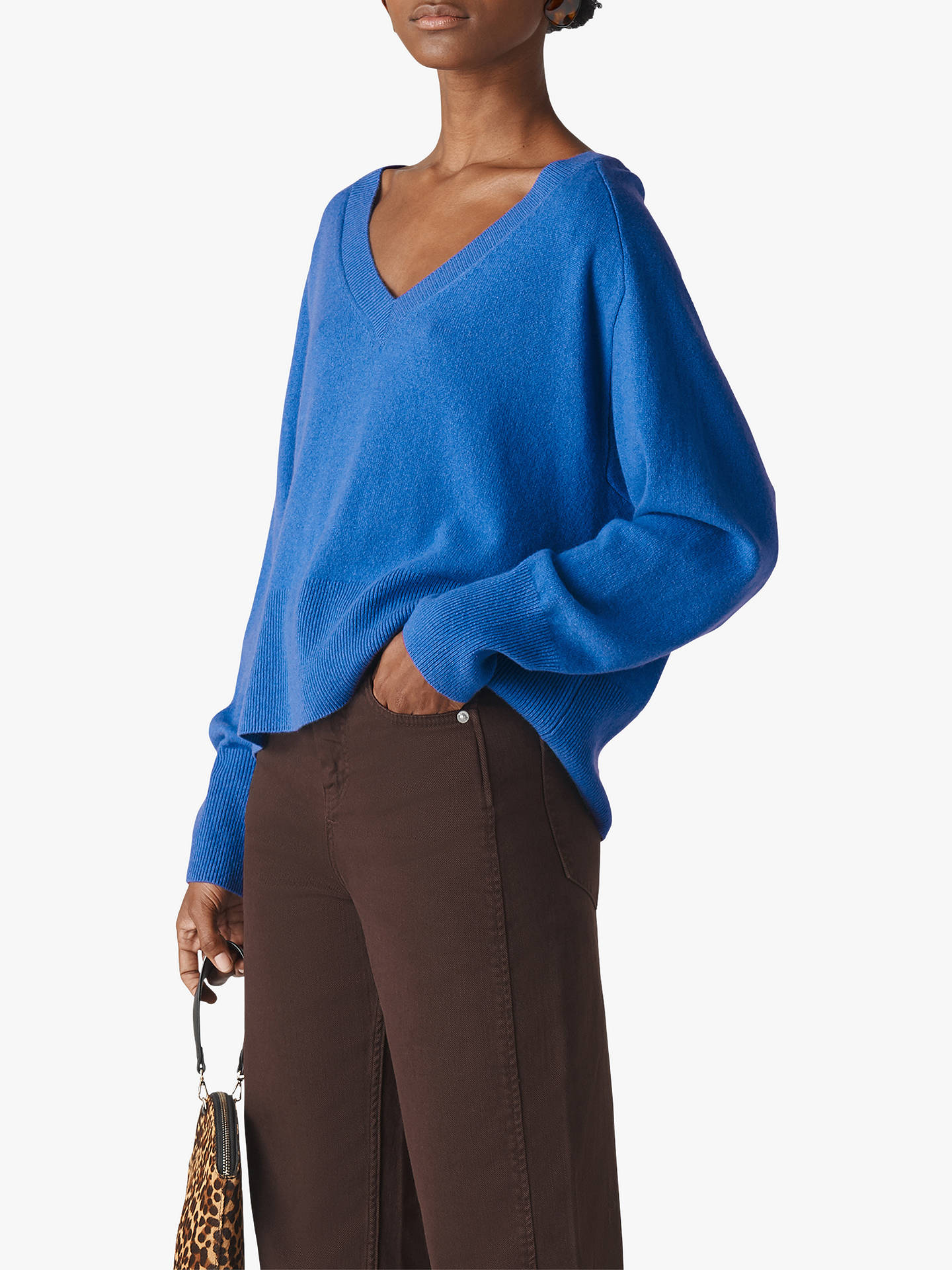 Buy Whistles Oversized Sustainable Cashmere Blend Jumper, Blue, XS Online at johnlewis.com