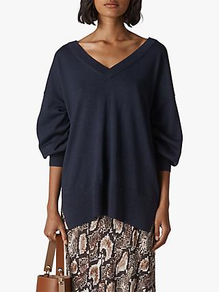 Whistles Relaxed Merino Wool V-Neck Jumper, Navy