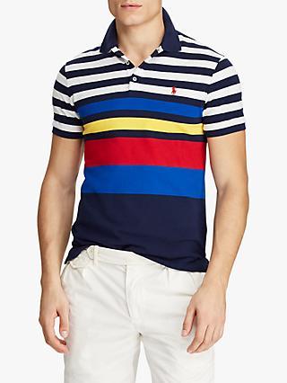 Polo Ralph Lauren Slim Fit Stripe Mesh Polo Shirt, Newport Navy Multi 0f4b634fc3