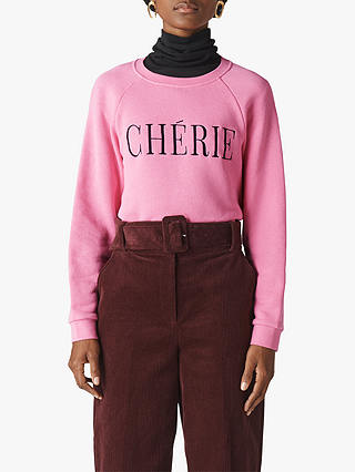 Buy Whistles Cherie Embroidered Sweatshirt, Pink, XS Online at johnlewis.com