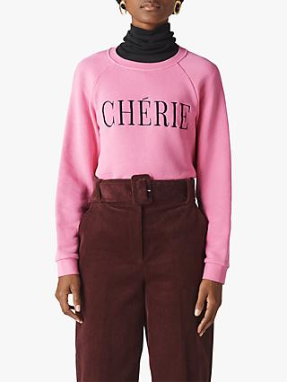 Whistles Cherie Embroidered Sweatshirt, Pink