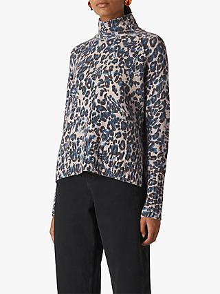 Whistles Jungle Cat Wool Funnel Neck Jumper, Blue/Multi