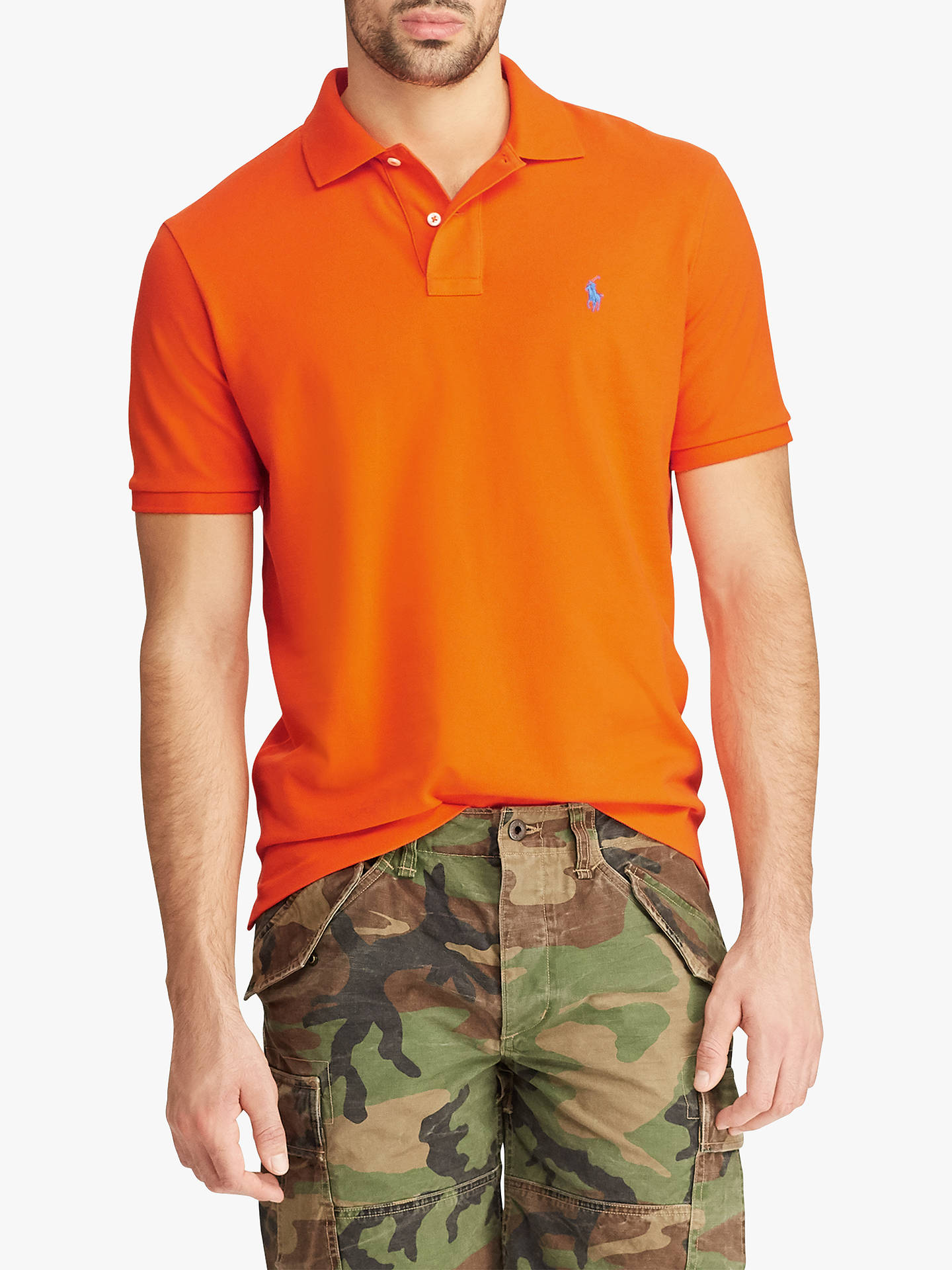 BuyPolo Ralph Lauren Short Sleeve Custom Slim Fit Mesh Polo Shirt, Sailing Orange, S Online at johnlewis.com