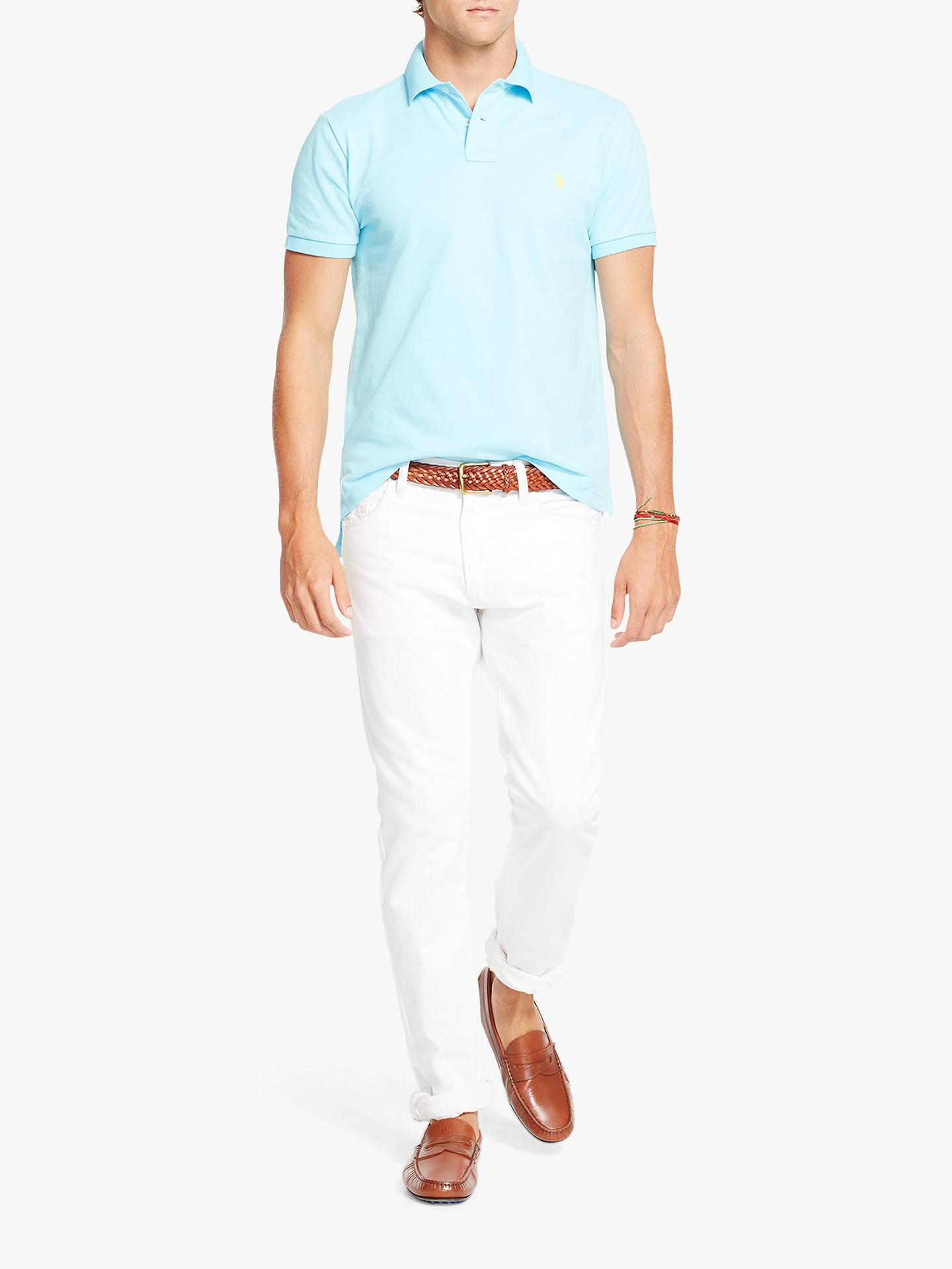 7831a0cf ... Buy Polo Ralph Lauren Short Sleeve Custom Slim Fit Mesh Polo Shirt,  Hammond Blue,